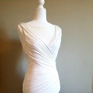 *BEBE*White Mini Dress with Lace Cutouts STUNNING